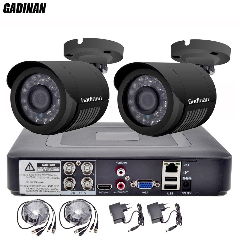 GADINAN 4CH AHD 1080N DVR avec 2 PCS 720 P/960 P/1080 P En Option Intempéries Bullet CCTV Caméra de Surveillance à domicile Système DVR Kit