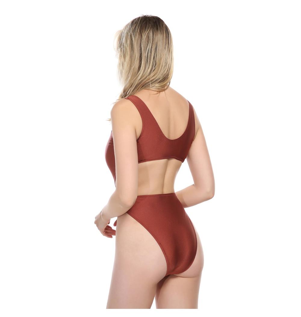 M&M Bow tie Waist Bathing Suit 2018 Women Matt Fabrics Swimwear Women Backless One Piece Sexy Caramel Swimsuit