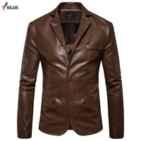Mens Winter PU Leather Jacket Blazers Men Coats 5XL Outerwear Men Faux Fur Jacket for Male Motorcycle Jackets jaqueta de couro