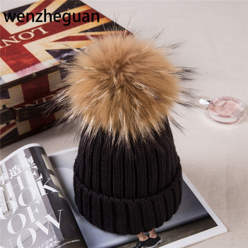 Baby Boy Winter Raccoon Fur Hat Kids Knitted Wool With15cm Pom Poms Cap Natural Fur Winter Thick Warm Cap For Children new star spring cotton baby hat for 6 months 2 years with fluffy raccoon fox fur pom poms touca kids caps for boys and girls