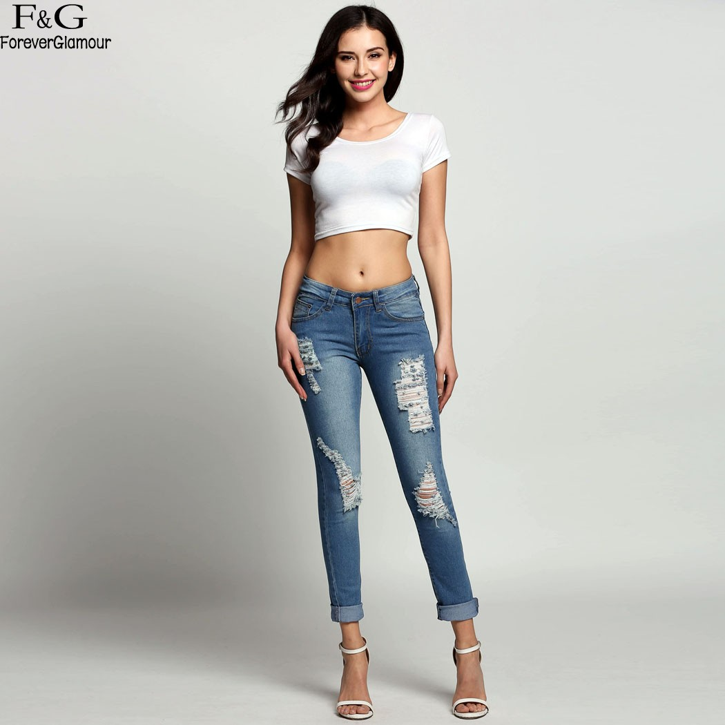 FANALA Denim Ripped Jeans For Women 2017  Jeans Women Fashion High Waist Torn Ankle Length Vintage Pants Women's Jean Feminina fashion high waist jeans ankle length denim pants ripped hole jeans casual summer women jeans denim pants jean new tt1138
