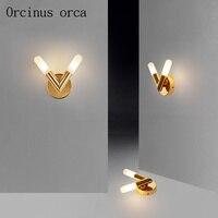 Nordic Современные Простые золото светодиодный бра гостиная коридор спальня ночники творческая личность двойной головкой арт бра