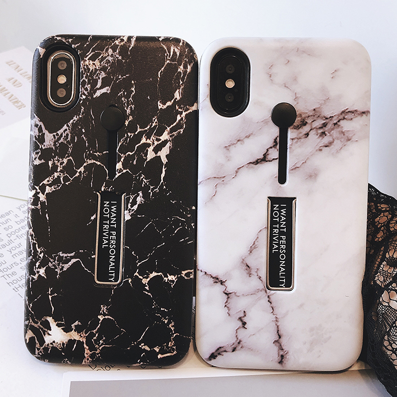 Galleria fotografica For iPhone X Case Soft Pull ring Cover Anti-knock Protective Cover For iPhone 6 6S 7 8 Plus Case Marble Stealth Bracket Coque