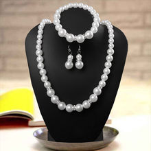 2019 Bridal Jewelry Sets Simulated-Pearl Necklace Bracelet Earrings Women Jewelries Sets Wholesale Parure Bijoux Femme Mariage(China)