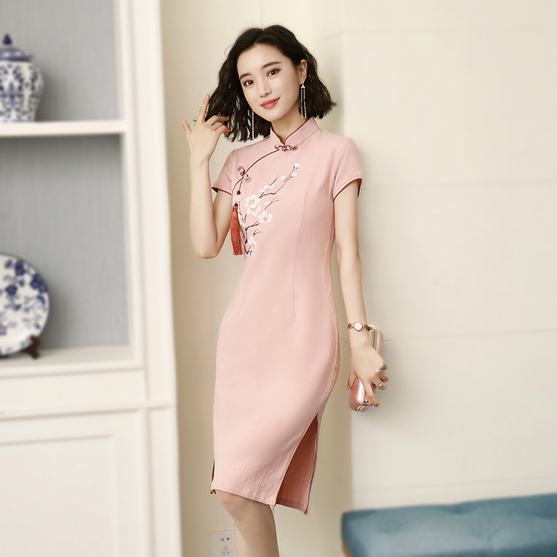 Sheng Coco Ladies Pink Cotton Dresses Chinese Clothing Cheongsam Improved Elegant Cheongsam Knee-length Embroidery Flowers Qipao