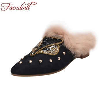 FACNDINLL 2019 new fashion women pumps shoes genuine leather med heels pointed toe real fur shoes woman dress party casual shoes