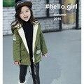 2017 зимняя Мода Европейский Стиль Хлопок характер Капюшоном девушки пальто детская одежда теплая утолщение дети пальто куртки jk028