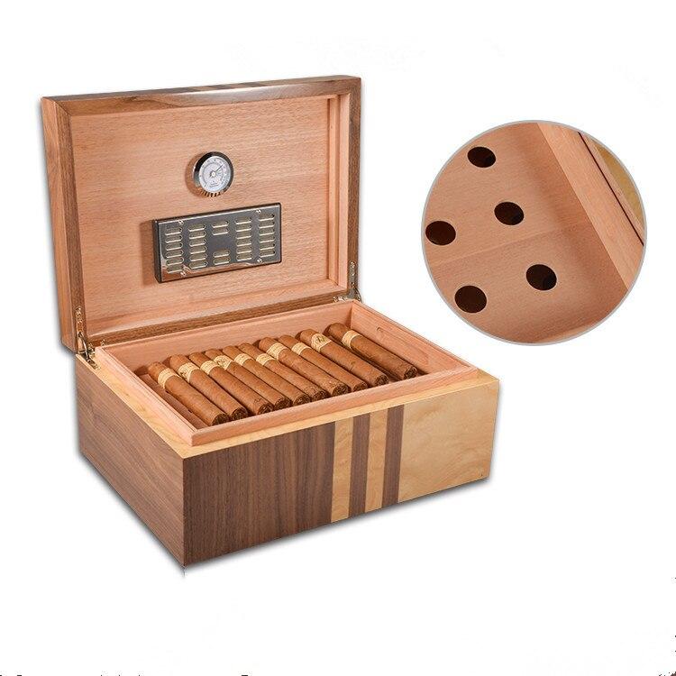 Classique Bois Grande Capacite Cave A Cigares Belle Boite De Rangement Boite A Cigares Avec Humidificateur Hygrometre Aliexpress