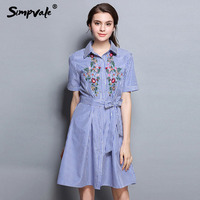 SIMPVALE Cotton Striped Dress Women Embroidery Flowers Summer Dresses Short Sleeve Casual Knee Length Dress With