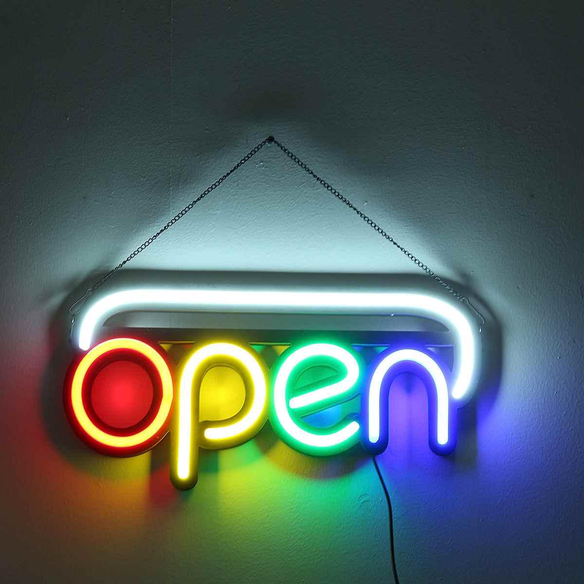 Enseigne au néon ouverte Tube de lumière LED à la main illustration visuelle Bar Club KTV décoration murale éclairage Commercial 50*25*3cm ampoules au néon