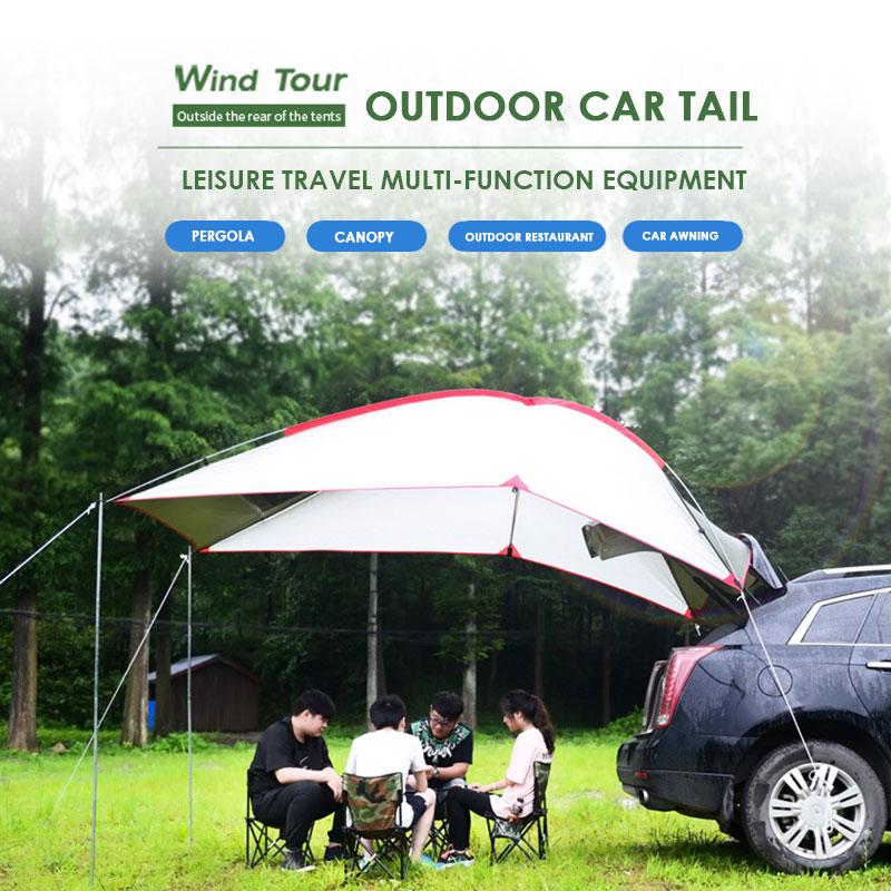 Tente de voiture pique-nique Durable auto-conduite voyage literie 2 couleurs tige en alliage d'aluminium imperméable PU extérieur tente pliante