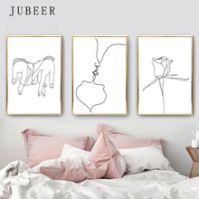 Line Artwork Kissing Couple Art Set of 3 Prints Love Poster Holding Hands Decorative Picture for Bedroom Flower Canvas Painting