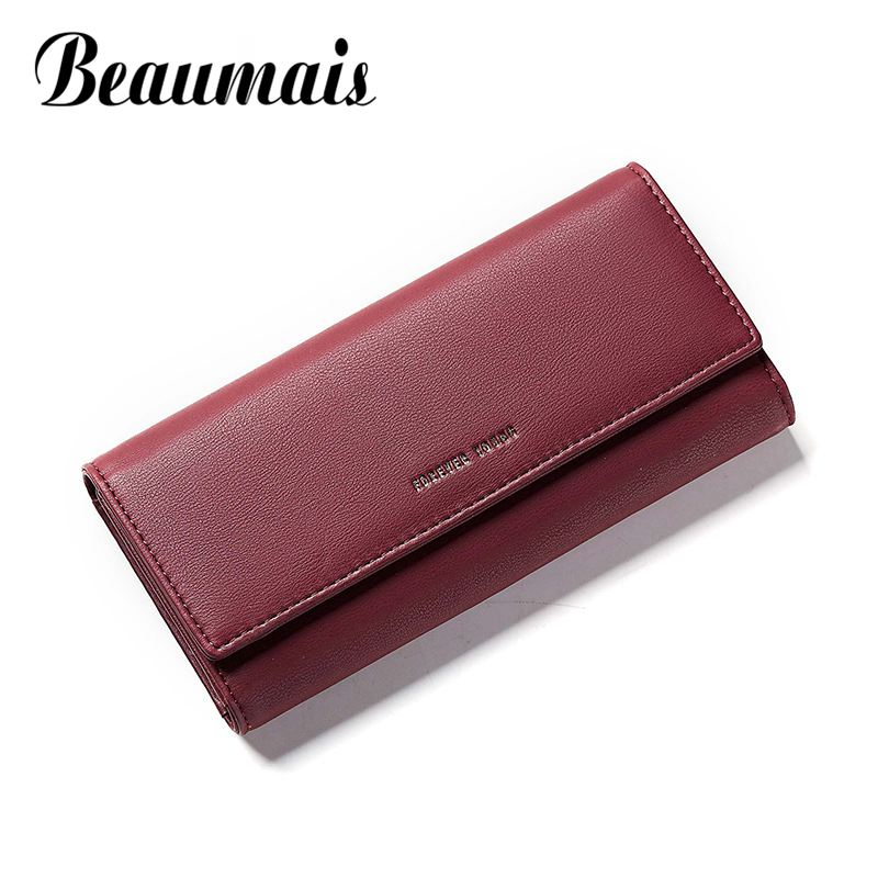 Beaumais Luxury Brand Wallet Leather Women Card Holder Phone Money Bag Coin Purse Women Long Clutch Women Wallet Female DF0422