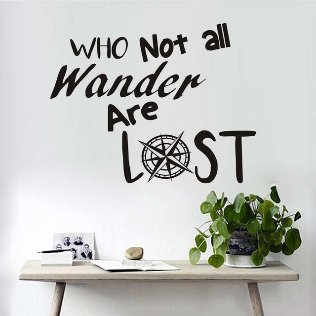 Funny Quotes Letters Not All Who Wander Are Lost Wall Stickers Vinyl Diy  Home Decor Living
