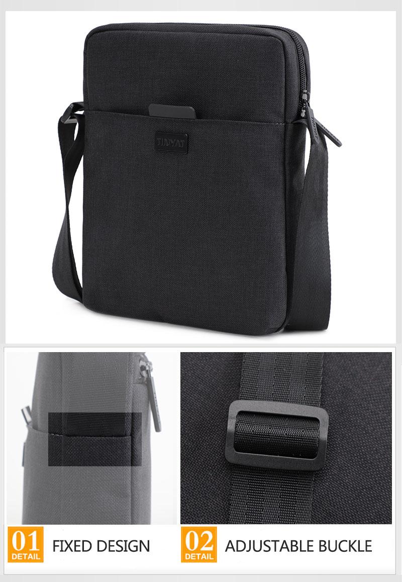 TINYAT Light Canvas Men's Shoulder Bag For 7.9' Ipad Casual Crossbody Bag Waterproof Business Shoulder bag for men 0.13kg 12