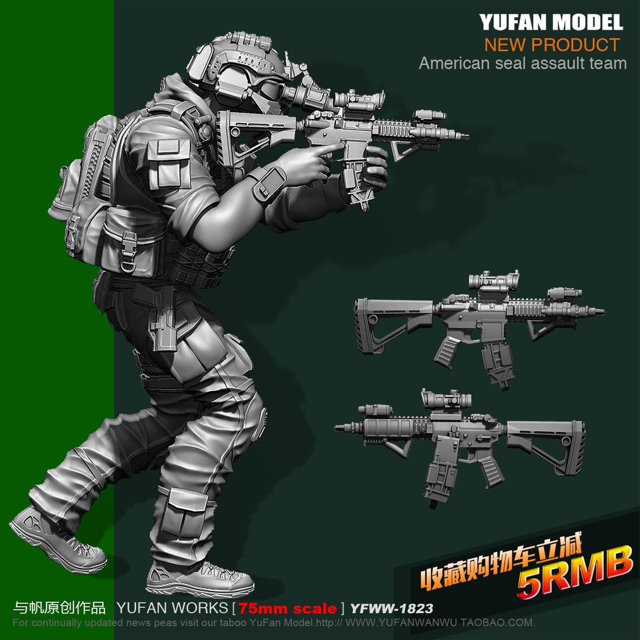 Yufan Model 1/24 75mm Us Seals Resin Soldier Platinum Yfww-1823