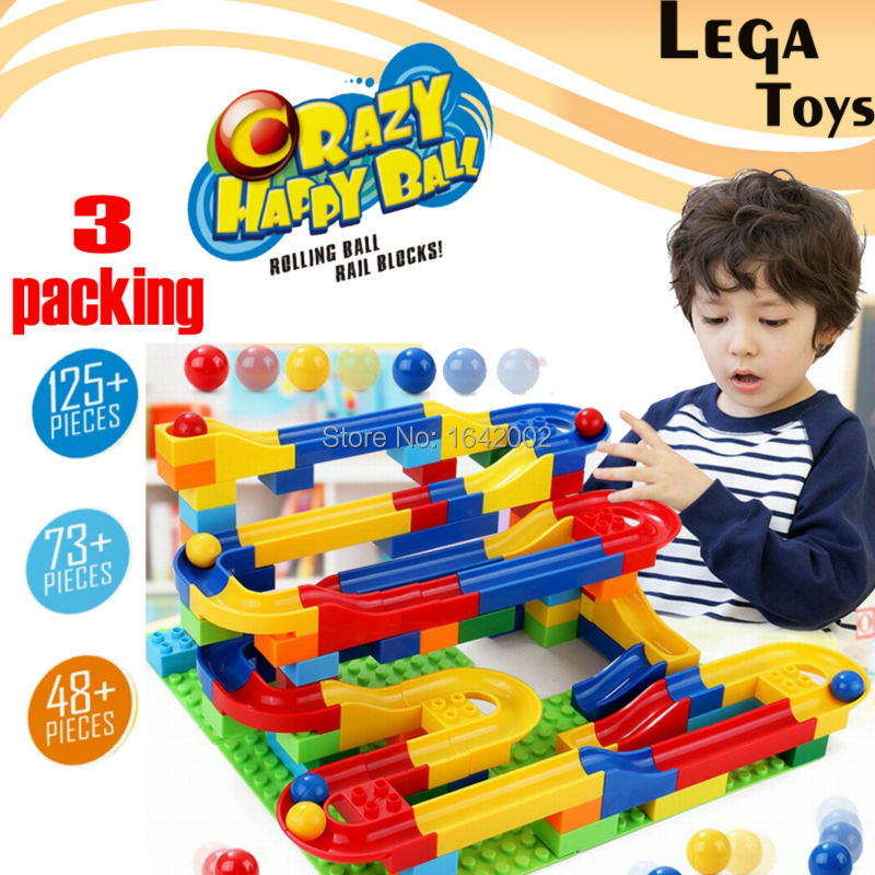 DIY Construction Marble Race Run Maze Balls Track Building Blocks 123+/72+/48+PCS building bricks Educational toys for children enlighten building blocks military submarine model building blocks 382 pcs diy bricks educational playmobil toys for children
