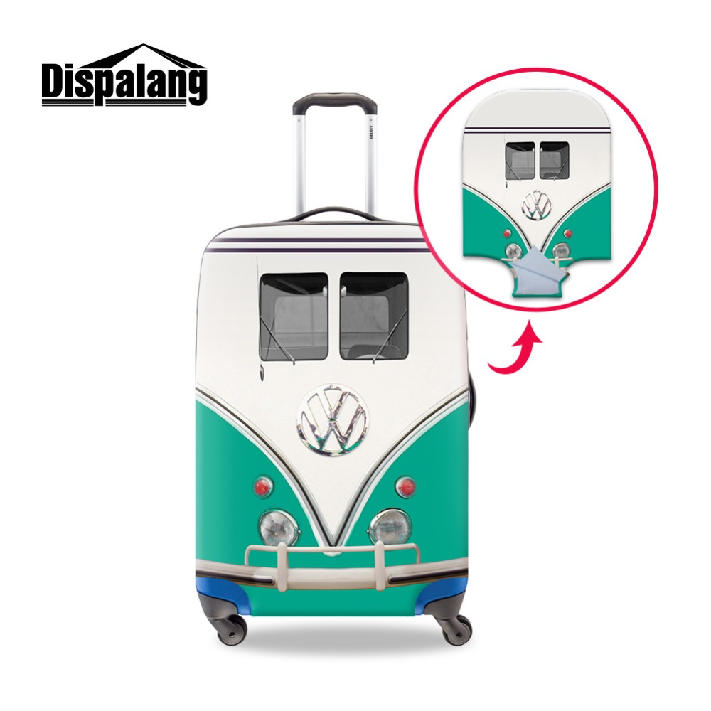 Spandex Vintage Trolley Luggage Cover Polyester Stretch Case Covers Colorful Pink Volkswagen Printing Customized Patterns Logo