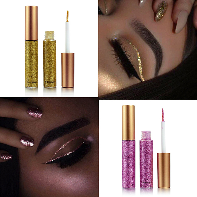 Brand New 10 Colors White Gold Glitter Eyeshadow For Easy to Wear Waterproof Liquid Eyeliner Beauty Eye Liner Makeup 2