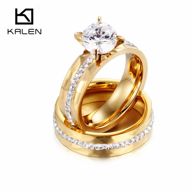 rhinestone studded luxurious engagement rings plated ring gold