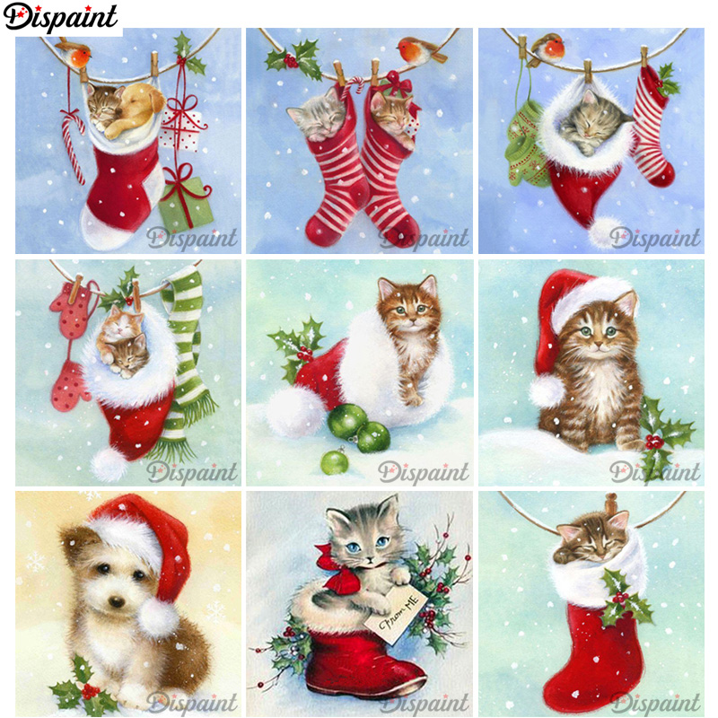 Dispaint Christmas Card Gift Full Square/Round Drill 5D DIY Diamond Painting 3D Embroidery Cross Stitch 3D Home Decor A14453
