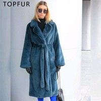 TOPFUR Warm Fur With Fur Collar Long New Winter Rex Rabbit Real Fur Coat Women Plus Size Luxury Navy Blue With Belt