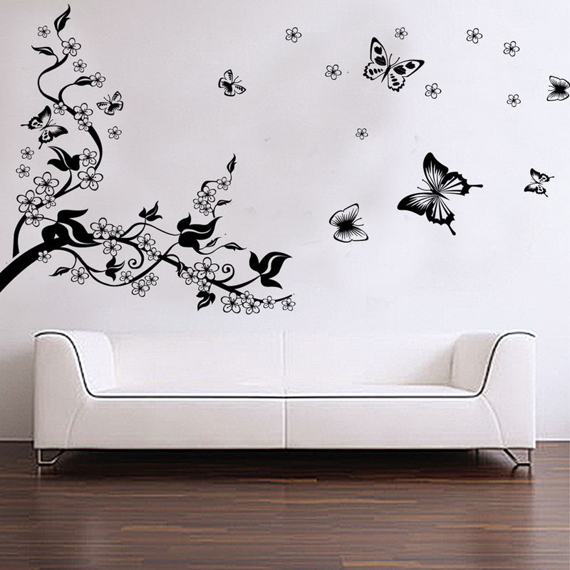 Black and white butterfly 3D wall stickers removable PVC transparent ...