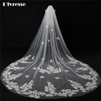 2017 New White Ivory Cathedral Wedding Veil With Comb Appliques Edge Veu De Noiva Longo Wedding Accessories Long Bridal Veil
