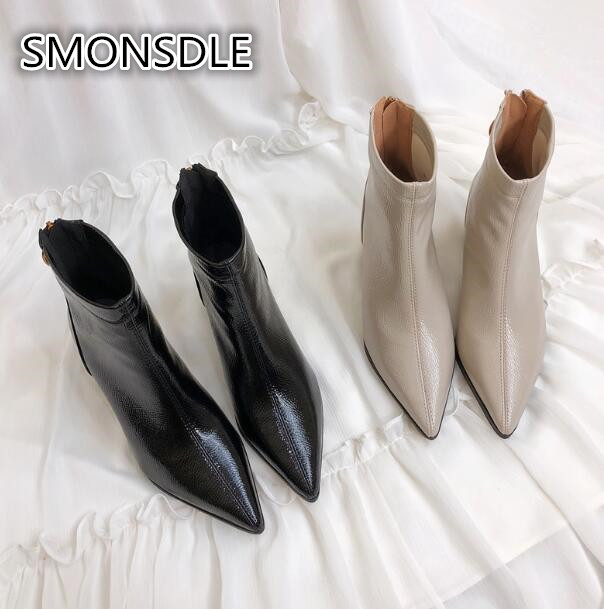 SMONSDLE Korean ankle boots female autumn and winter pointed leather thick with trend women's boots back zipper