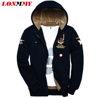 M 3XL 2016 Winter Bomber Jacket Male Velvet Thick Warm Air Force 1 Coats Mens Hoodies