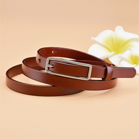 Vintage Pin Buckle Thin Women Belt Genuine Leather TOP Quality Ladies Dress Belts Ceinture Femme Female