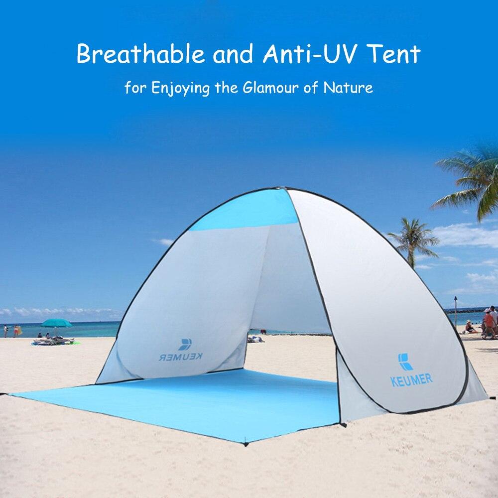 KEUMER extérieur automatique Camping tente pop up ouvert 1-2 personnes plage tente Sunshelter uv-protection tente pour pêche parasol