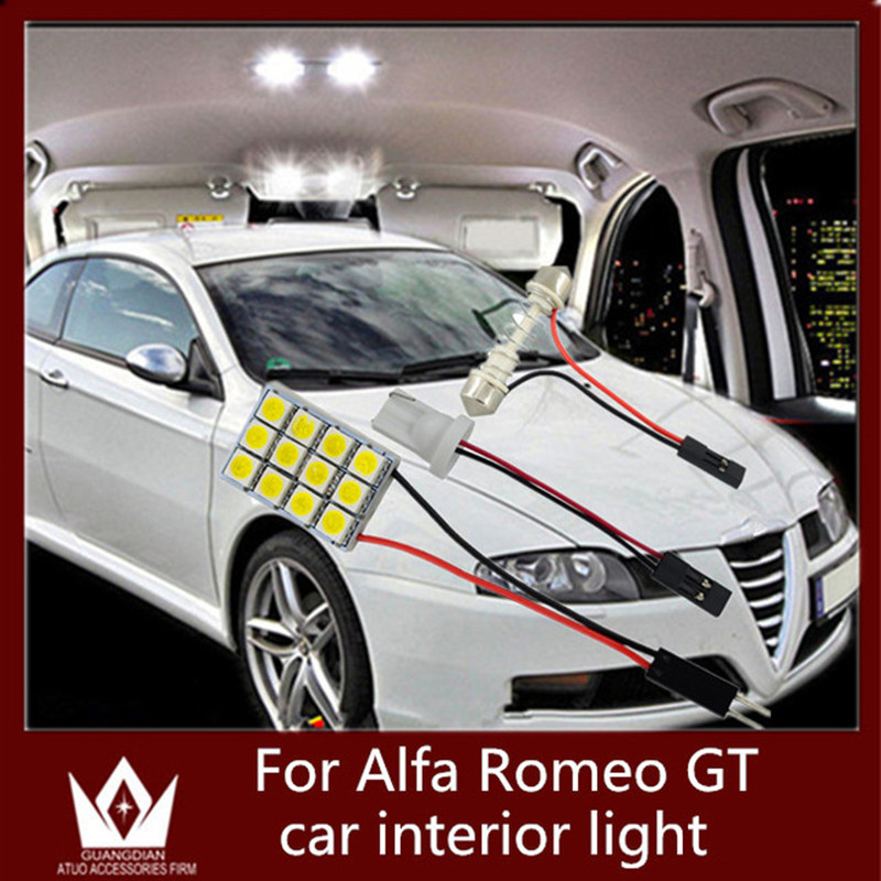 Tcart 6pcs Car LED Interior Roof Dome Light Reading Door Lamp Auto Led Bulbs T10 Festoon For Alfa Romeo GT 2003-2010 Accessories 48 led auto car dome festoon interior bulb roof light lamp with t10 ba9s festoon adapter base reading light high quality