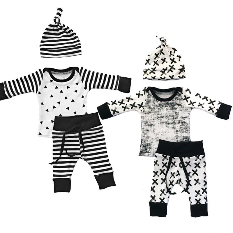 цена на Newborn Baby Boy Girl black white  striped  Long Sleeve o-neck Tops +Pants +Hat 3PCS Outfits Set Clothes 0-2Y