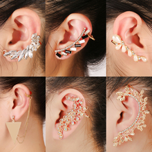Fashion Triangle Tassel Long Chiain Ear Clip Earring Square Full Crystal Leaf Ca