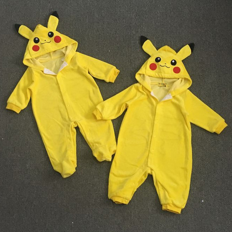 Baby Clothes Spring Autumn Hooded Pikachu Overalls Infant Romper Jumpsuits Newborn Baby Boy Girl Clothes 3pcs set newborn infant baby boy girl clothes 2017 summer short sleeve leopard floral romper bodysuit headband shoes outfits