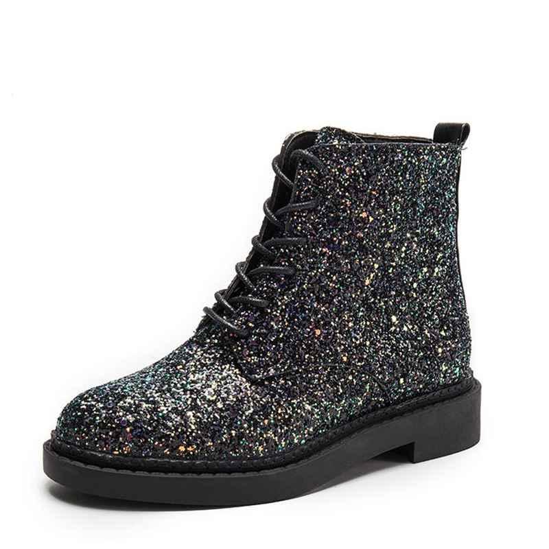 Kadın yarım çizmeler topuklu kadın ayakkabısı kadın sonbahar Glitter Lace up çizmeler rahat Bling pembe siyah beyaz çizmeler kadın 2019 glitter