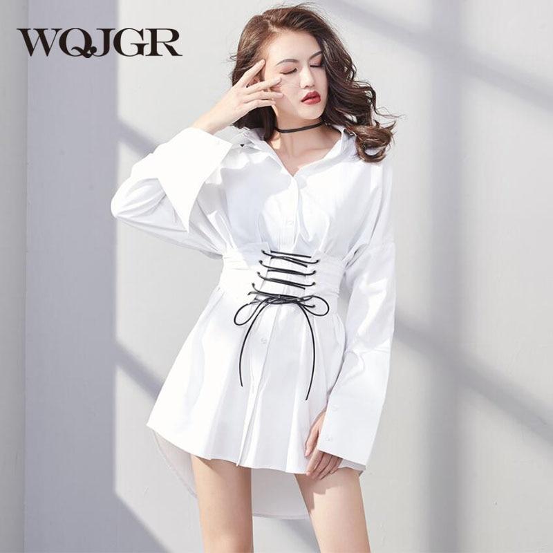 2018 nouvelles mode femmes hauts et chemisiers ceinture décoration à manches longues blanc Blusa Feminina