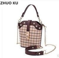 ZHUOKUwool material basket design women fashion chain handbag super chic lady winter stylish star stud cross body bags