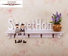 Купить с кэшбэком Sweet Home White Hollow Plate Of Shelf Wooden Hat Rack Four Hook Hanging