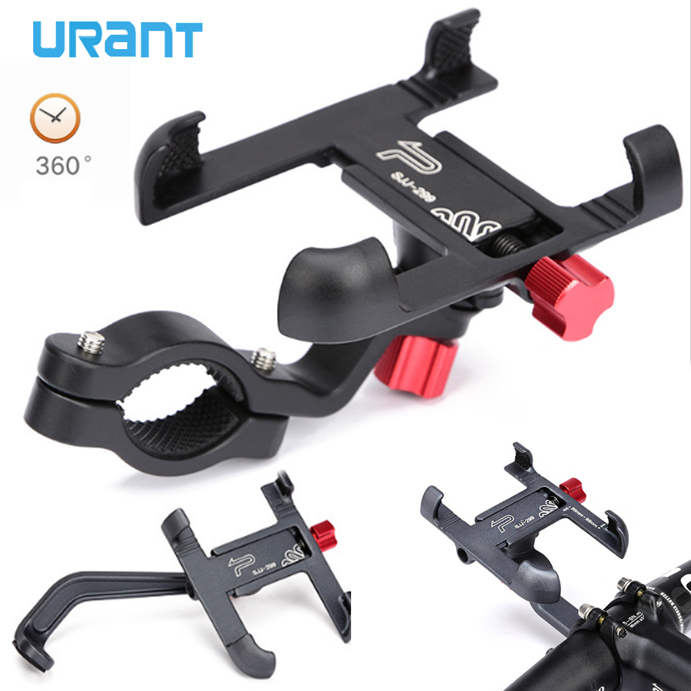 URANT Aluminum Motorcycle Holder 360 Degree Rotatable Handlebar Bike Bicycle Mount For Mobile Phone GPS Phone Stand