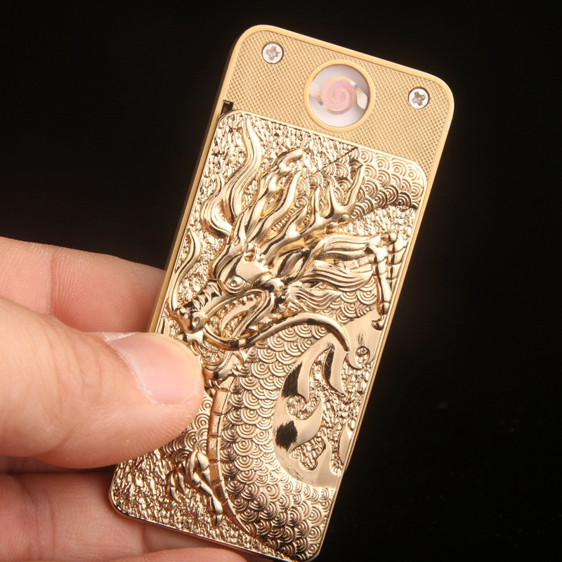 Chinese Dragon USB Electronic Cigarette Lighter Accepted Symbols Rechargeable Battery Thin Smoker Friend Traditional Symbolism 1