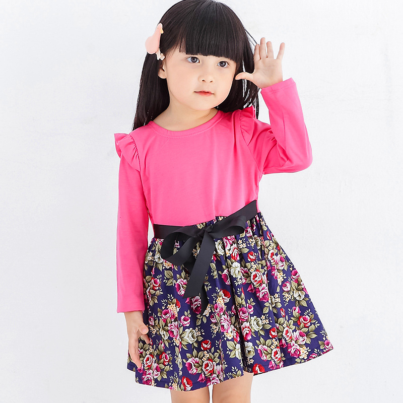 2017 Girls Dress Summer solid clour Spliced ​​Floral Print - Ubrania dziecięce