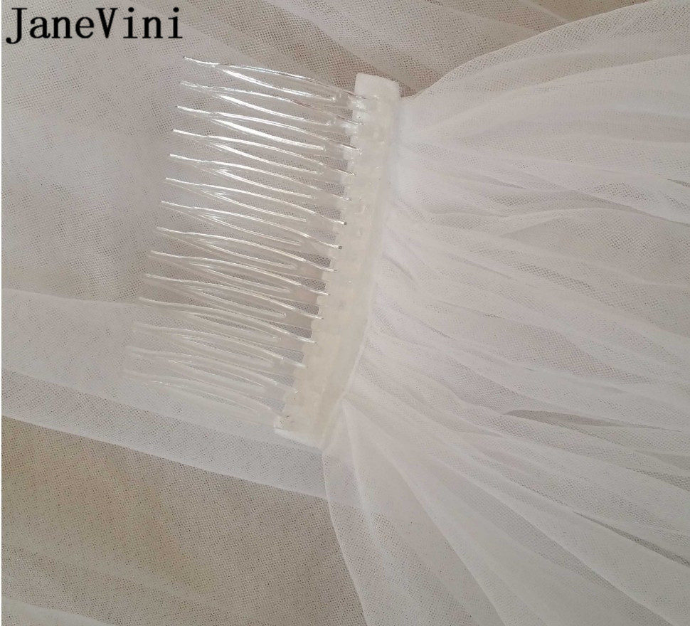 Купить с кэшбэком JaneVini Cheap Bridal Veils Ivory White Short 2 Two Layers Bride Wedding Veil with Comb Simple Cut Edge Tulle Veil Accessories