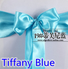 Tiffany colour high quality satin sash chair bow for chair covers sash spandex party and wedding decoration wholesale(China)