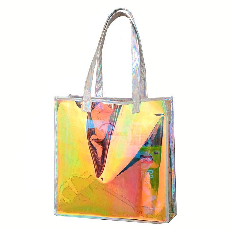 Transparent Bags For Women Big Clear Jelly Handbag Large Capacity Laser Handbag Transparent Bag Holographic Beach Bag For Woman