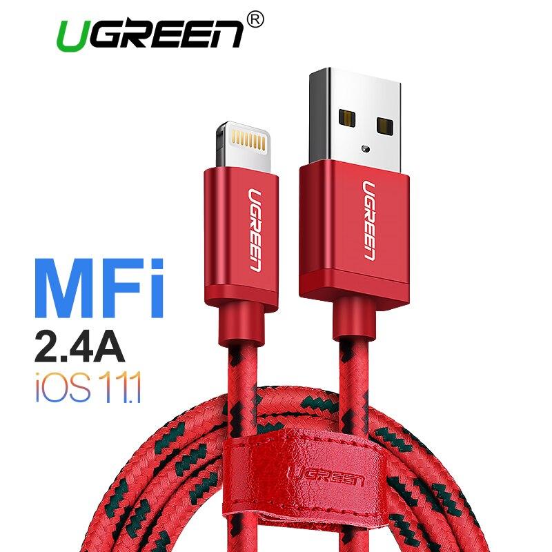 Ugreen Foudre au Câble USB pour iPhone 7 2.4A Imf Certifié Rapide Câble de chargement de Données pour iPhone X 8 6 5S iPad Charge D'air cordon