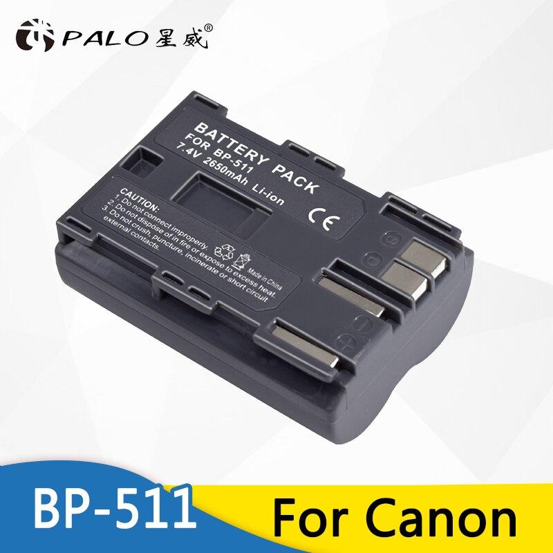 PALO 7.4 V 2650 mAh BP-511 BP-511A 511A para Bateria Da Câmera BP511 BP BP 511 Para Canon EOS 40D 300D 5D 20D 30D 50D 10D G6 L10