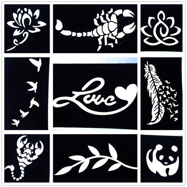 9 Pieces/Lot DIY Small Pattern Airbrush Tattoo Stencils Scorpion ...