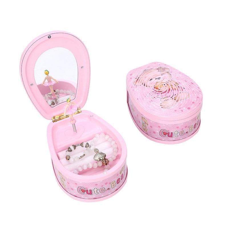 Cute Bear Dancing Ballerina Music Box PLastic Jewellery Box Girls Carousel Hand Crank Luminescent Music Box Mechanism Gift